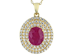 Red Burma Ruby With White Zircon 18k Yellow Gold Over Sterling Silver Pendant With Chain 4.25ctw