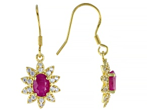 Burma Ruby  Rhodium Over Sterling Silver  Dangle Earrings 2.30ctw