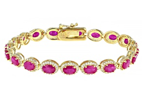 Burma Ruby Rhodium Over Sterling Silver Tennis Bracelet 11.00ctw