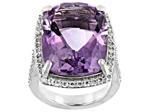 Lavender Amethyst  Rhodium Over Silver Ring 15.65ctw