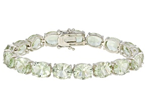 Green Prasiolite Rhodium Over Silver Tennis Bracelet 32.00ctw