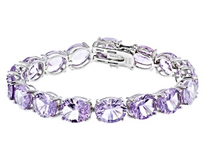 Purple Rose de France Amethyst Rhodium Over  Silver Tennis  Bracelet 37.00ctw