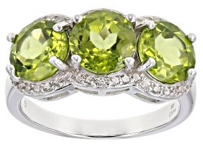 Green Peridot Rhodium Over Sterling Silver Ring 3.50ctw