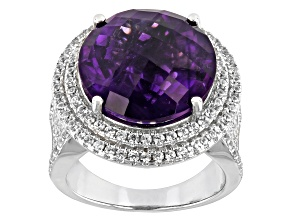 African Amethyst Rhodium Over Silver Ring 11.00ctw