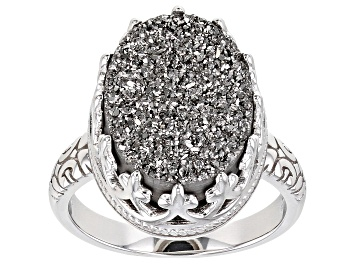 Picture of Platinum Color Drusy Quartz Rhodium Over Silver Ring