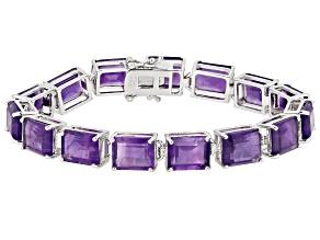 Purple African Amethyst Rhodium Over Sterling Silver Line Bracelet 35.00ctw