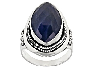 Blue Sapphire Sterling Silver Ring 7.50ctw