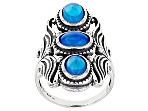Paraiba Blue Color Opal Sterling Silver Statement Ring 1.50ctw