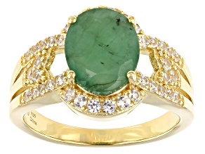 Green Emerald 18k Yellow Gold Over Sterling Silver Ring 1.80ctw
