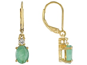Green Emerald 18k Yellow Gold Over Sterling Silver Earrings 2.20ctw