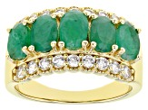 Green Emerald 18k Yellow Gold Over Sterling Silver Ring 2.20ctw
