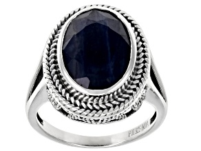 Blue Sapphire Sterling Silver Ring 6.00ctw