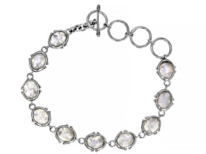 Rainbow Moonstone Sterling Silver Bracelet  15.00ctw