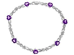 Amethyst Rhodium Over Silver Bracelet 6.87ctw