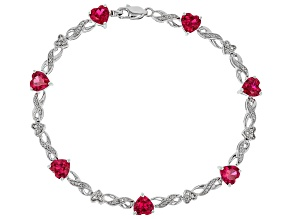 Lab Created Ruby Rhodium Over Silver Bracelet 6.87ctw