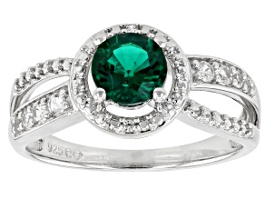 Lab Created Emerald Rhodium Over Silver Ring 0.95ctw