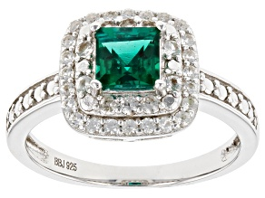 Lab Created Emerald Rhodium Over Silver Ring 1.98ctw