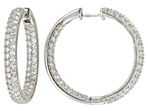 White Zircon Rhodium Over Sterling Silver Inside/Out Hoop Earrings 5.00ctw