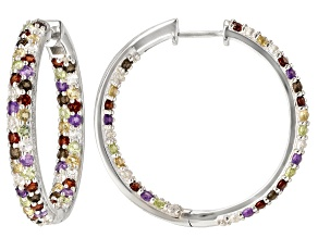 Multi Gemstone Sterling Silver Hoop Earrings 6.16ctw