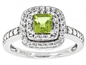 Peridot Rhodium Over Sterling Silver Ring 1.95ctw