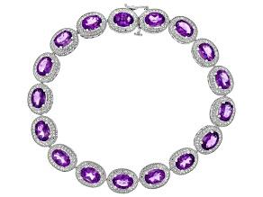 Amethyst Rhodium Over Silver Bracelet 14.16ctw