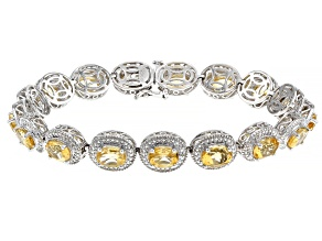 Citrine Rhodium Over Silver Bracelet 14.16ctw
