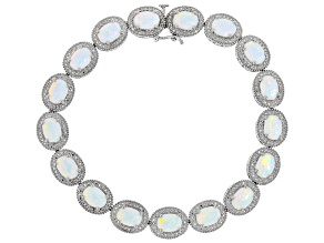 Lab Created Opal Rhodium Over Silver Bracelet 7.66ctw