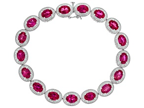 Lab Created Ruby Rhodium Over Sterling Silver Bracelet 12.50ctw