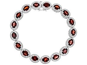 Garnet Rhodium Over Sterling Silver Bracelet 16.66ctw
