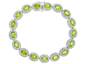 Peridot Rhodium Over Sterling Silver Bracelet 15.83ctw