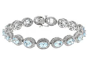 Sky Blue Topaz Rhodium Over Sterling Silver Bracelet  18.33ctw