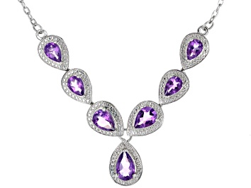 Picture of Amethyst Rhodium Over Sterling Silver Necklace 3.14ctw