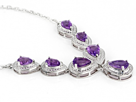 Amethyst Rhodium Over Silver Necklace 3.14ctw