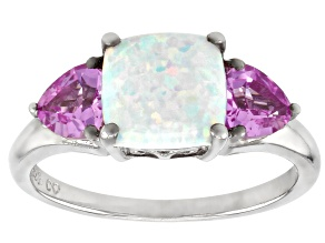 Lab Created Opal Rhodium Over Silver Ring 1.14ctw