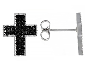 Black Spinel Rhodium Over Silver Cross Earrings 0.42ctw