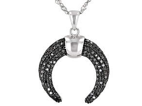 Black Spinel Rhodium Over Silver Pendant With Chain