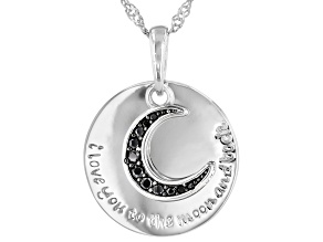 "Black Spinel Rhodium Over Silver ""I Love You To The Moon And Back"" Pendant 0.12ctw"