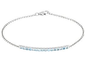 Swiss Blue Topaz Rhodium Over Silver Bracelet 0.60ctw