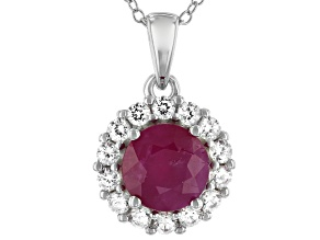 Ruby Rhodium Over Silver Pendant With Chain 2.15ctw