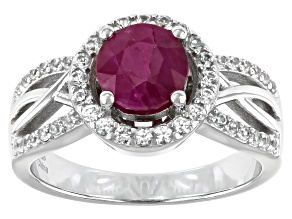 Burma Ruby And White Zircon Rhodium Over Silver Ring 1.75ctw