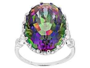 Multi Color Quartz Rhodium Over Sterling Silver Ring 11.60ctw