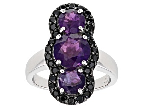 Purple Amethyst Rhodium Over Sterling Silver Ring 3.80ctw