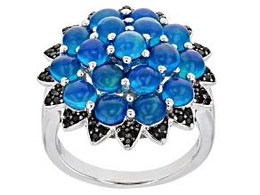 Blue Opal Rhodium Over Sterling Silver Ring 0.25ctw