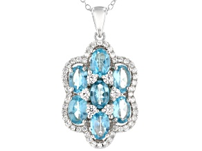 Blue Apatite Over Sterling Silver Pendant with 18