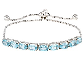 Blue Apatite Rhodium Over Sterling Silver Bolo Bracelet 4.49ctw