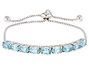 Blue Apatite Rhodium Over Sterling Silver Bolo Bracelet 4.49ctw