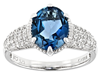 Picture of London Blue Topaz Rhodium Over Sterling Silver Ring 3.07ctw
