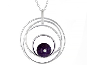 Purple Amethyst Rhodium Over Sterling Silver Pendant With Chain 4.00ctw