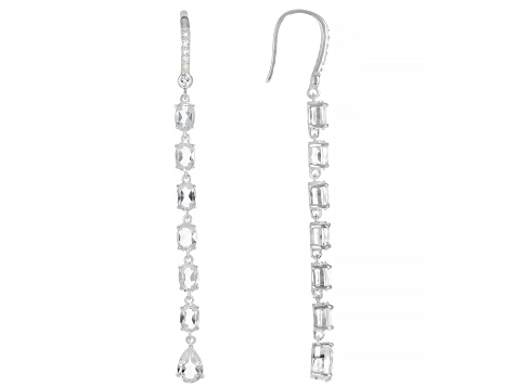 White Topaz Rhodium Over Sterling Silver Earrings 7.89ctw