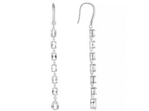 White Topaz Rhodium Over Sterling Silver Earrings 7.89ctw